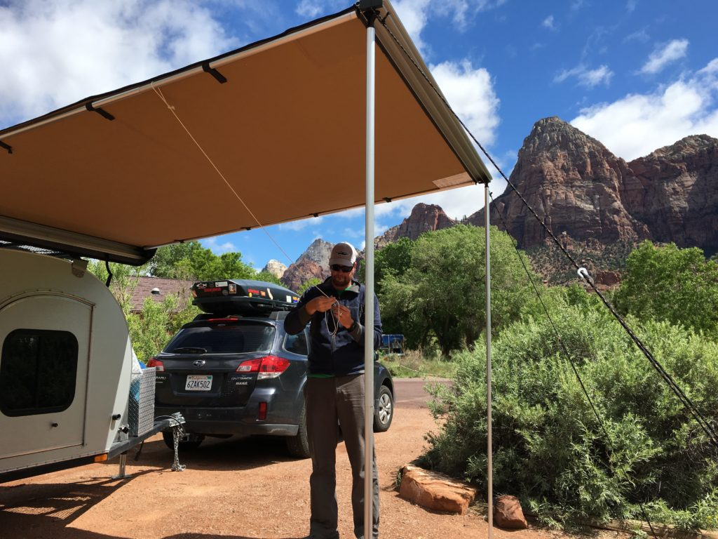 ARB awnings on the Treeline teardrop camper in Zion National Park
