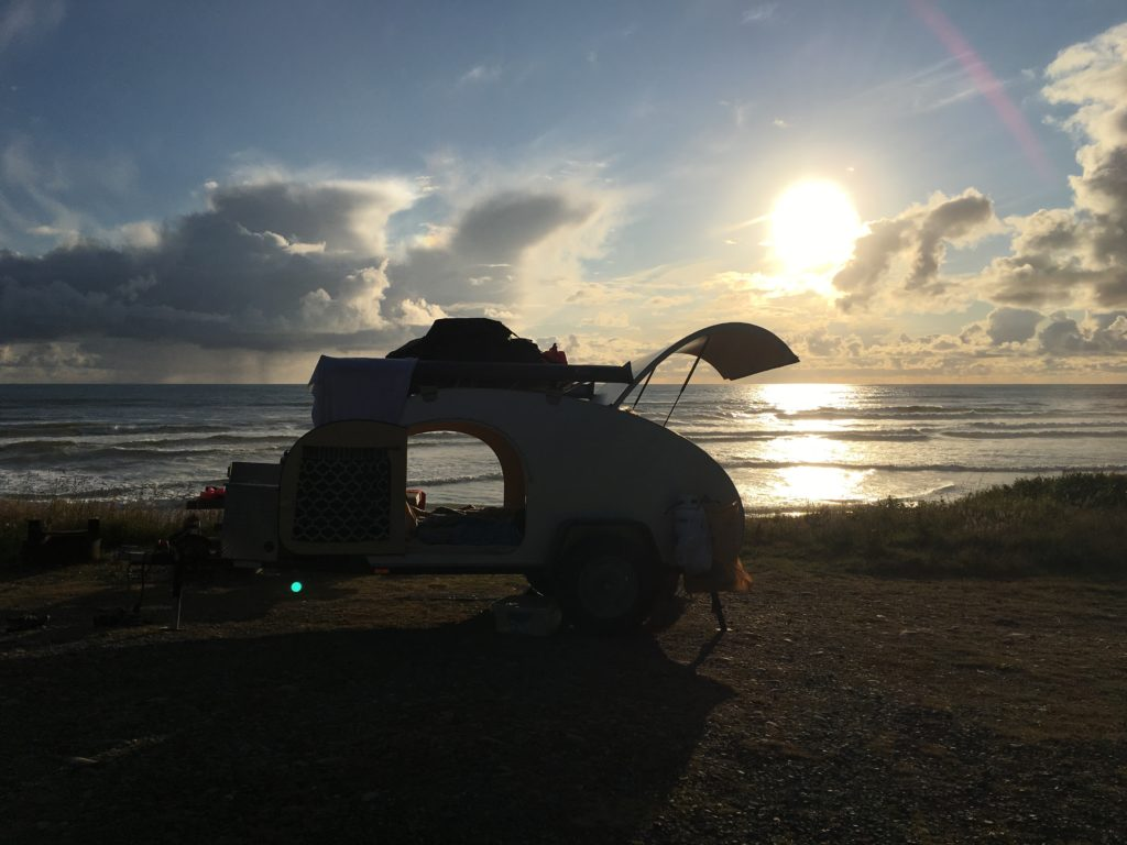 Olympic Peninsula, Washington, USA, Teardrop Camper, sunset