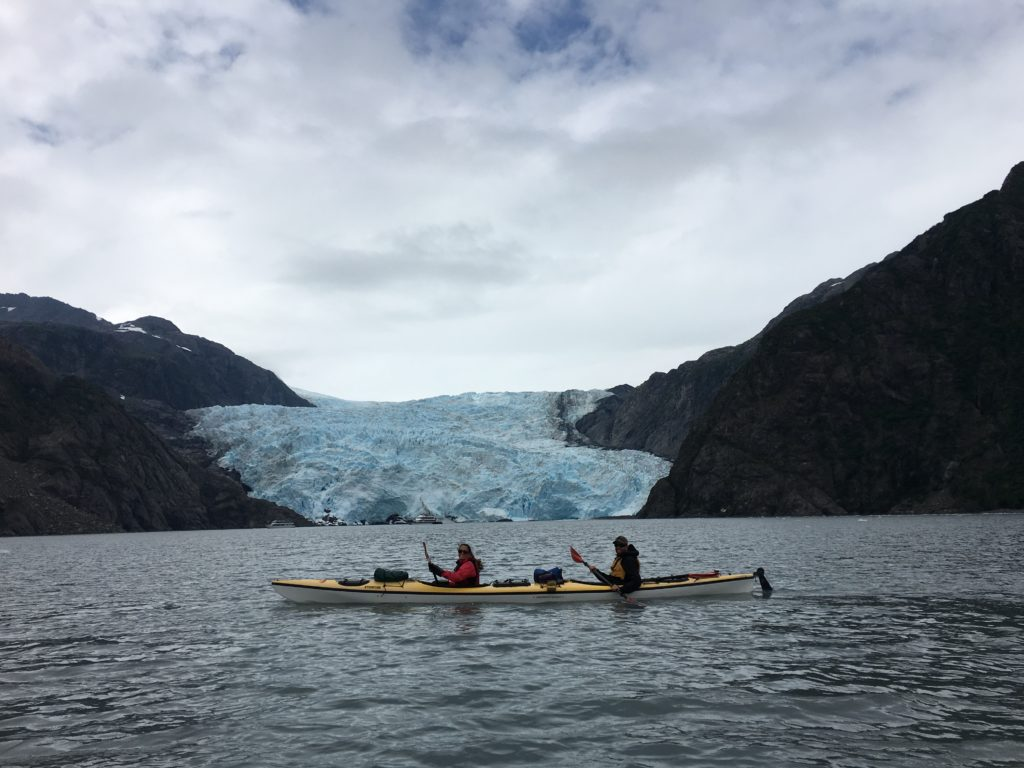 Sea kayaking in Aialik Bay in Kenai Fjords National Park, Alaska