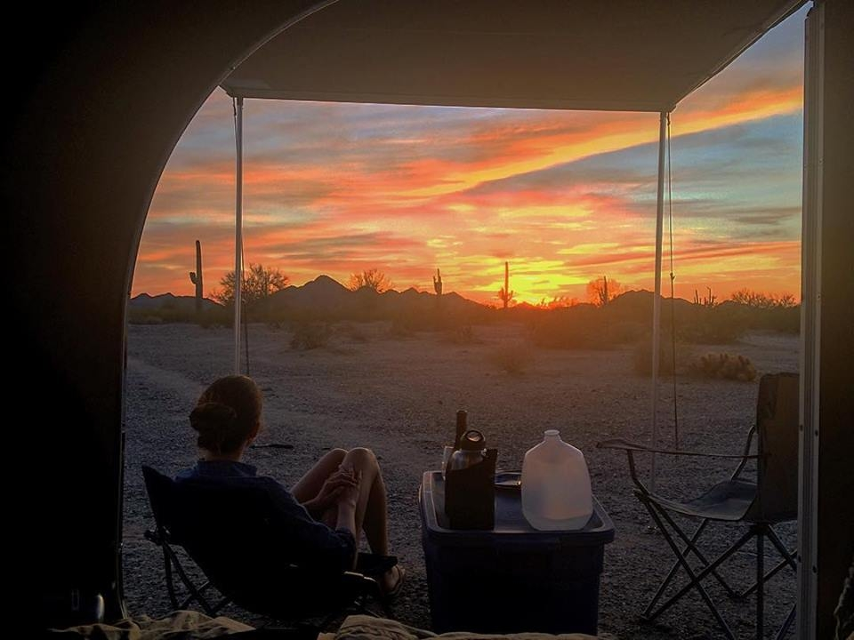 Arizona sunset from the camper, Sonoran Desert